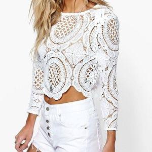 Crochet lace zip back top